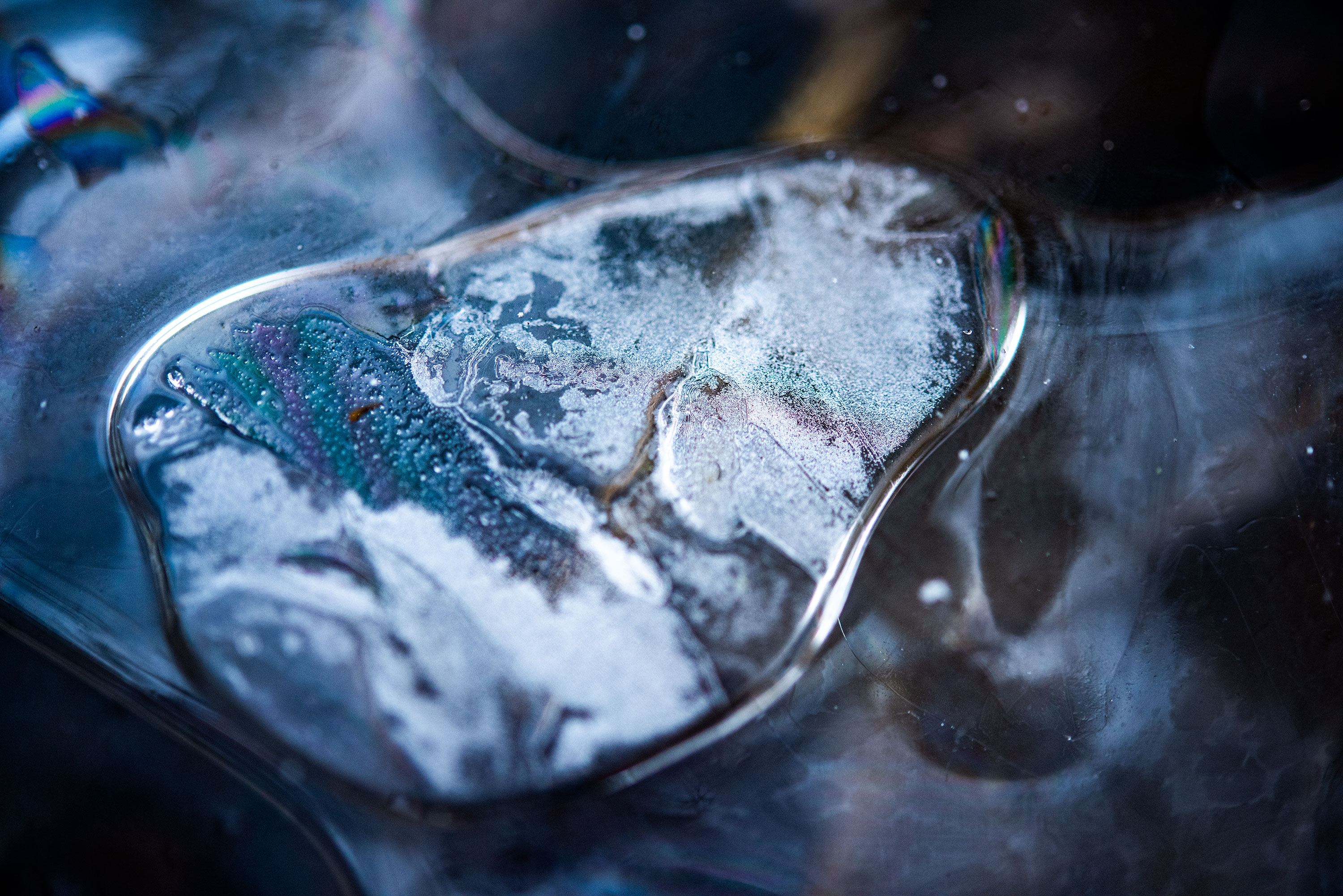 Abstract and close up photography of a frozen pond, located in Lausanne, Switzerland. Image by Jennifer Esseiva.