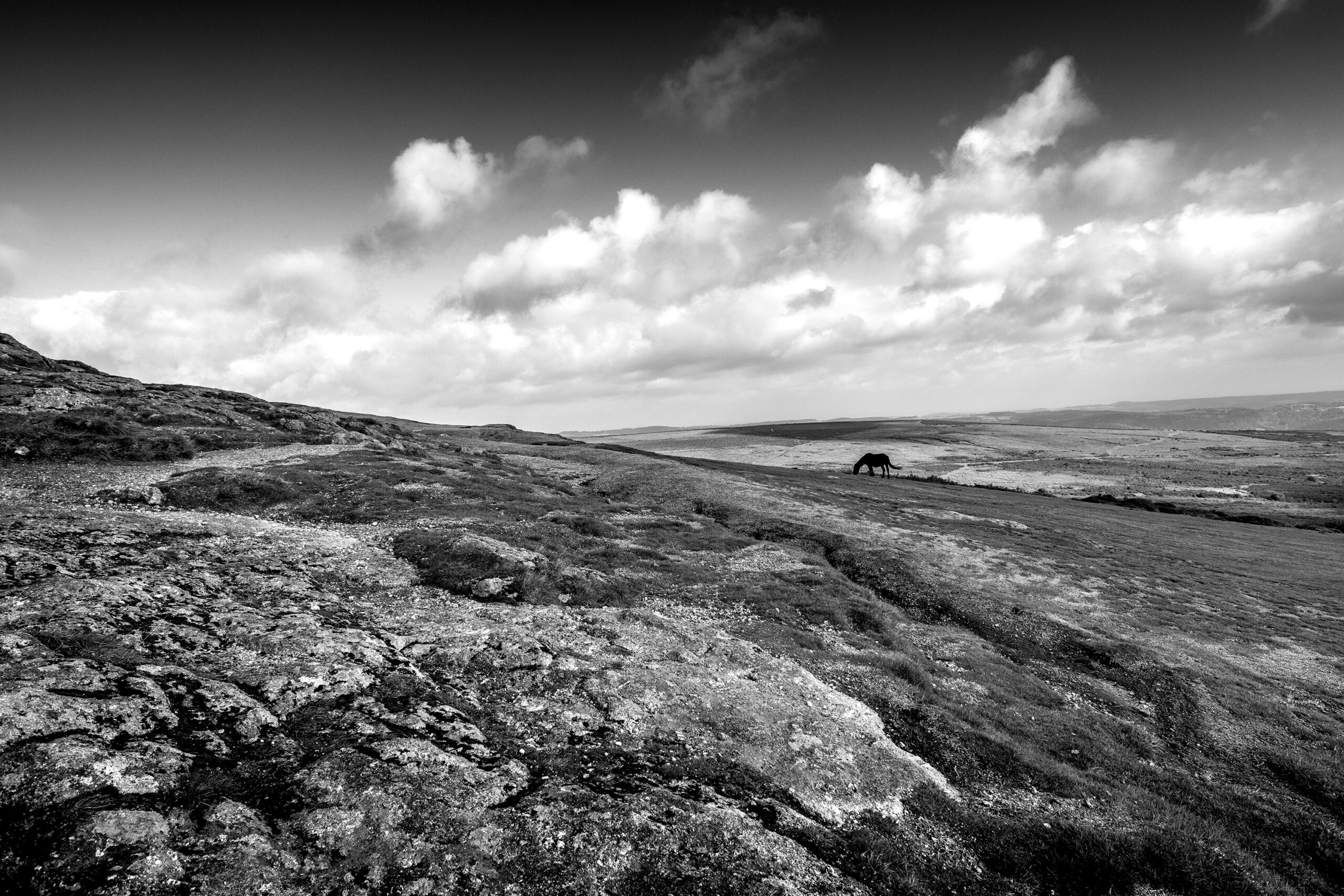 Black and white photography of the Dartmoor located near Exeter in England.