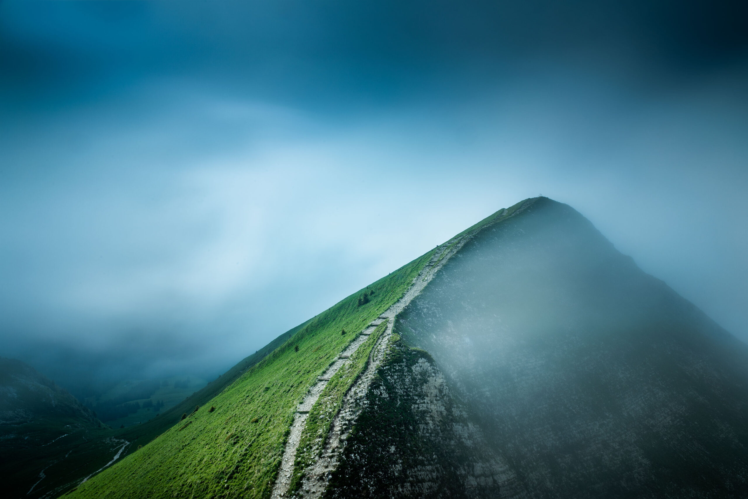 Long time exposure photography of the Moléson Mountain located in Canton Fribourg, Switzerland Image by Jennifer Esseiva.