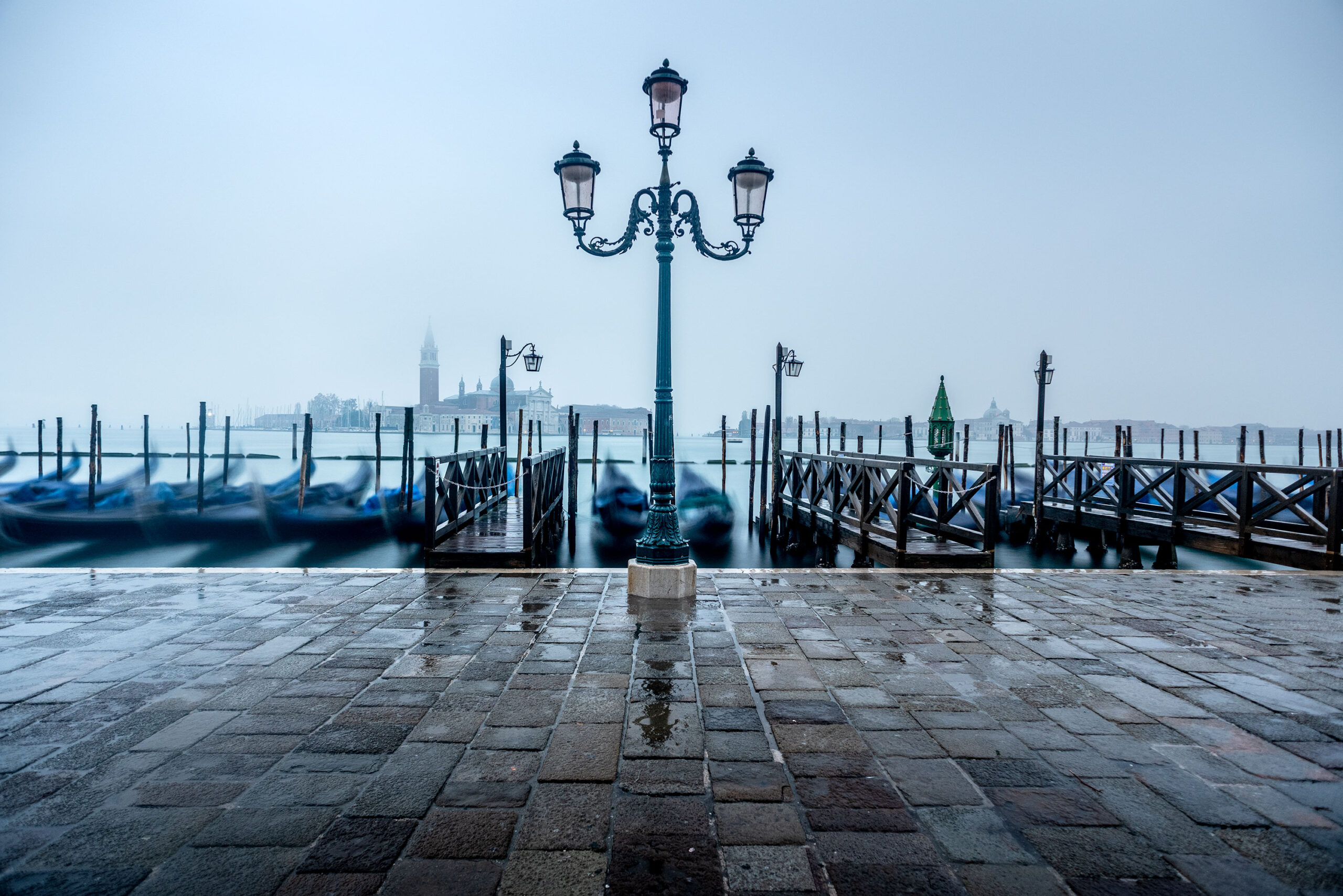 Long time exposure of the Piazza San Marco in Venice by a rainy day.