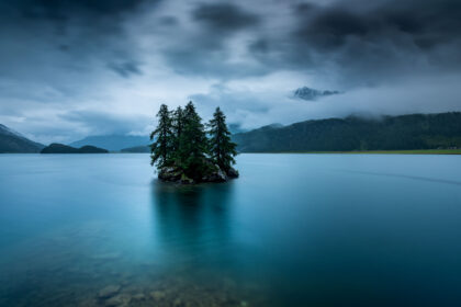Landscape photography of Lake Sils located in St. Moritz, Switzerland.