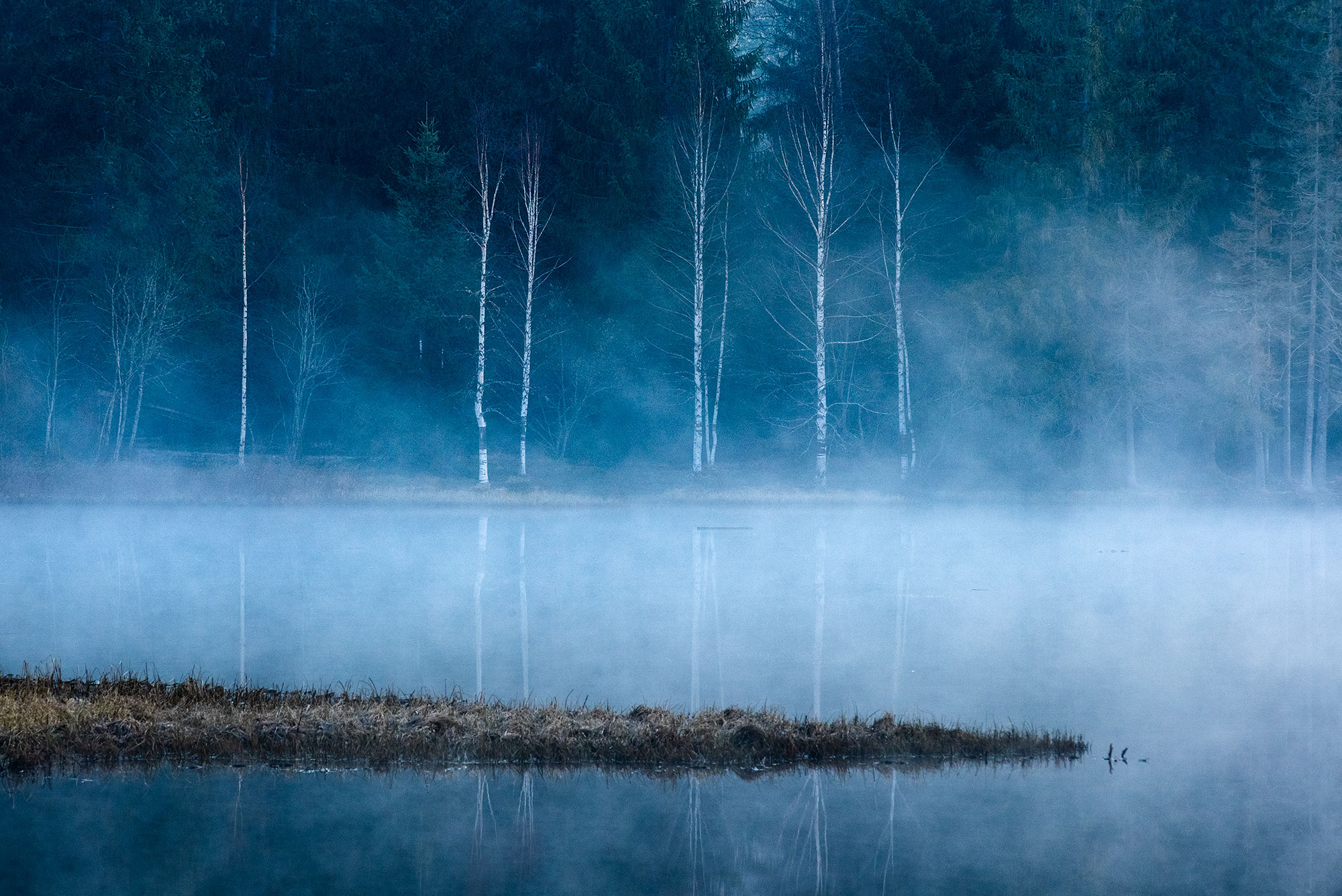 Fine art photography of the lake Gruère in a foggy morning. The lake is located in the Jura mountain, in northern Switzerland.