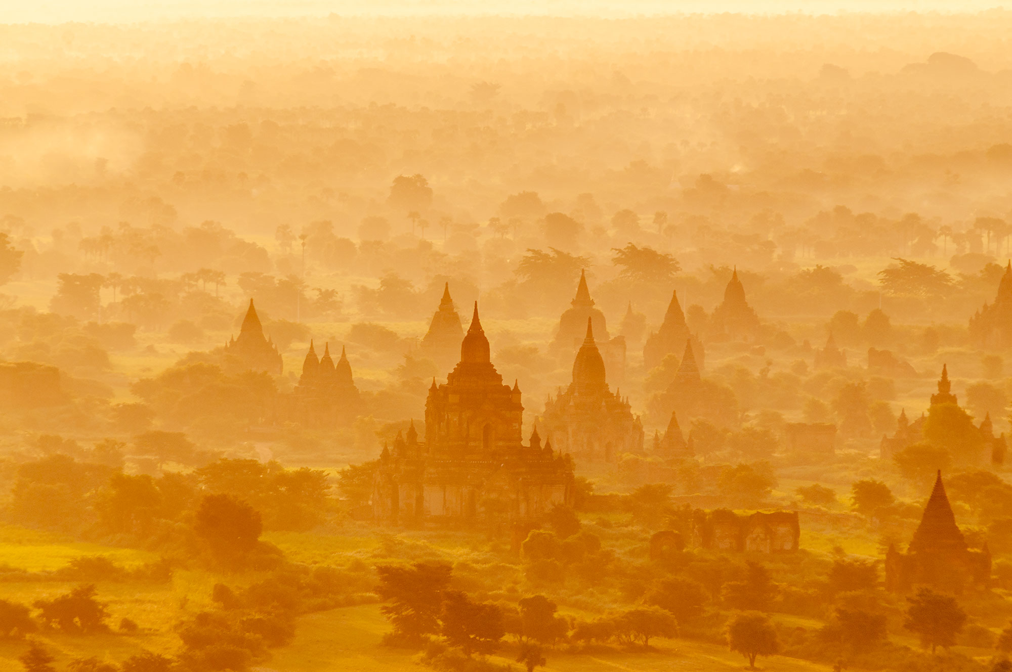 Aerial photography of Bagan, the city of a thousand pagodas in Burma. Image by Jennifer Esseiva.
