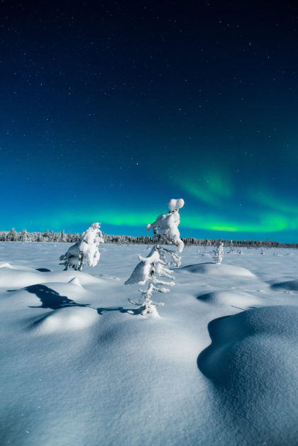 Landscape photography of a northern light in Lapland.