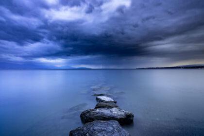 Landscape photography of a thunder storm on Lake Geneva, Switzerland.
